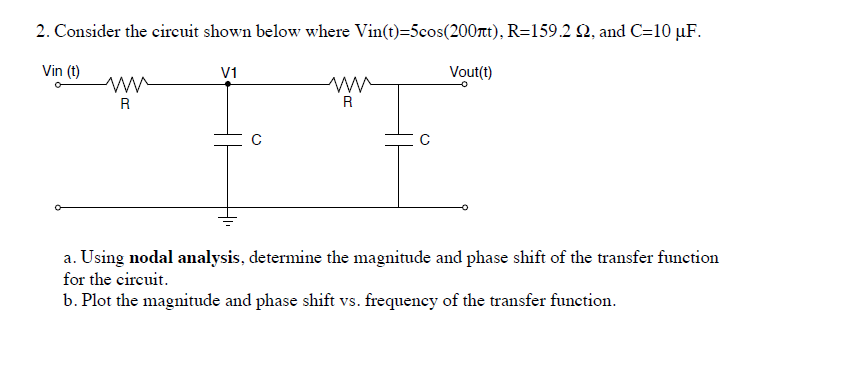 Consider the circuit shown below where Vin(t)=5cos