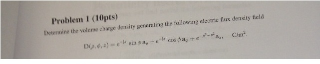 Determine the volume charge density generating the