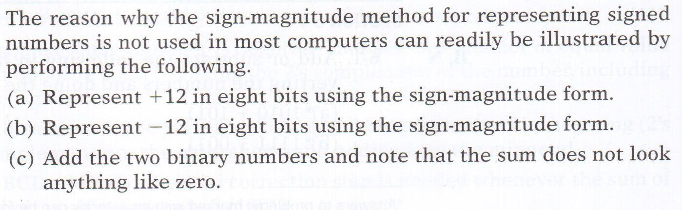 The reason why the sign-magnitude method for repre