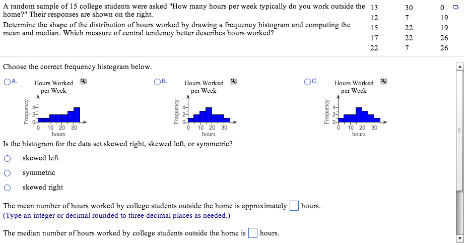 a random sample of college students were asked com question a random sample of 15 college students were asked how many hours per week typically do you work