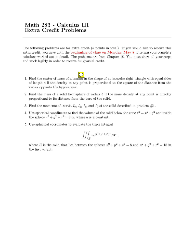 Math 283 Calculus Iii Extra Credit Problems The Following Problems Are For  Extra Credit (5