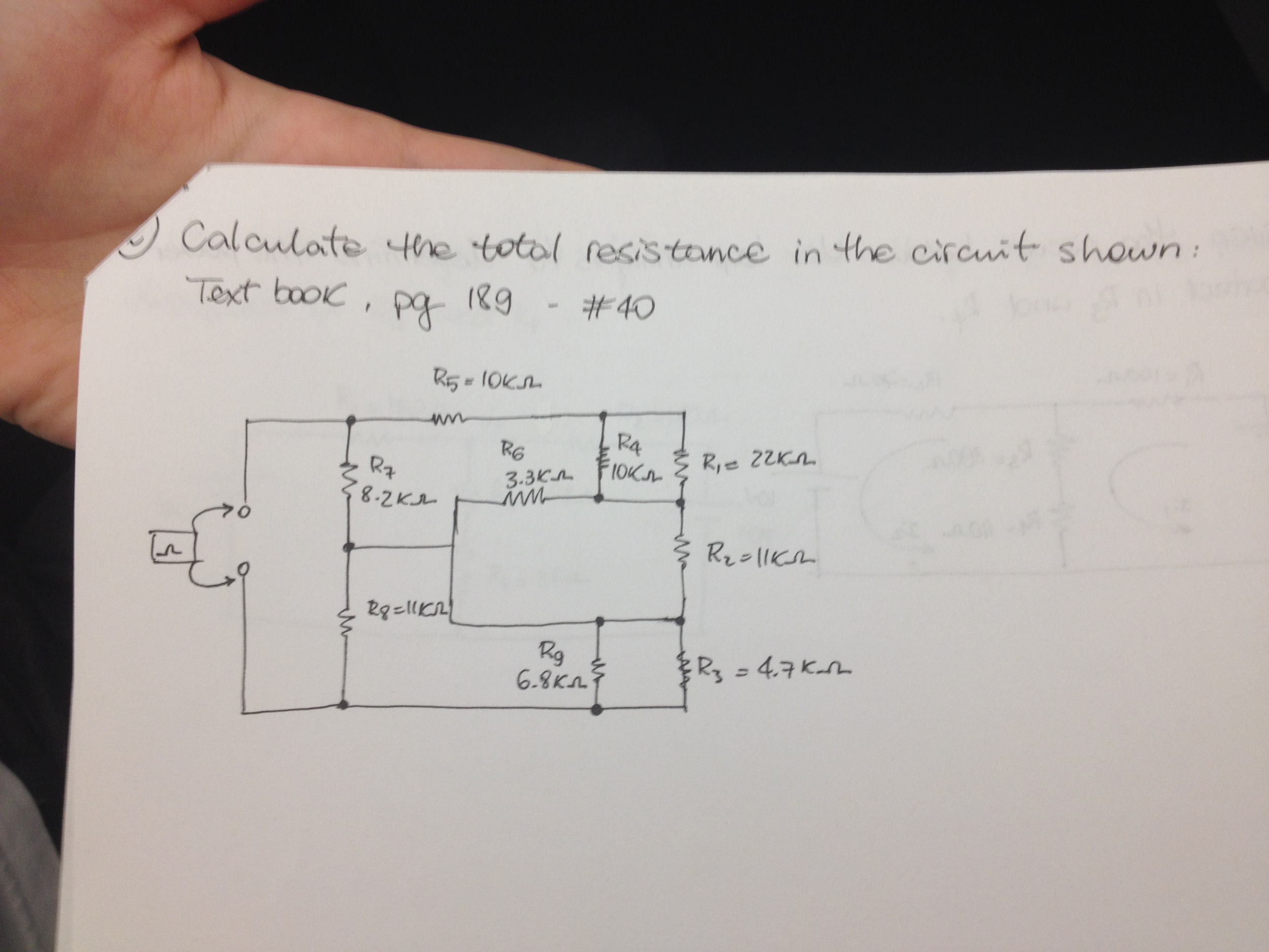 Calculate the total resistance in the circuit show