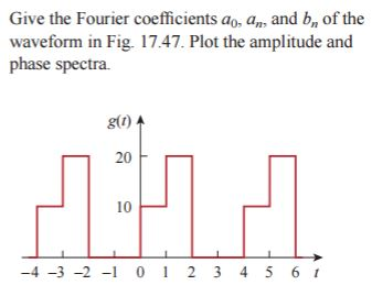 Solved give the fourier coefficients a0 an and bn of give the fourier coefficients ao am and b of the waveform in fig ccuart Image collections