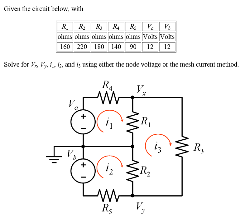 Given the circuit below, with Solve for Vx. Vy. i