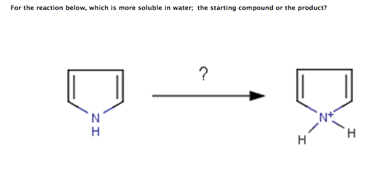 For the reaction below, which is more soluble in w