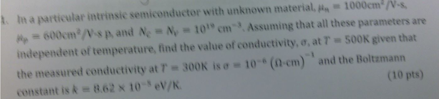 In a particular semiconductor with unknown materia