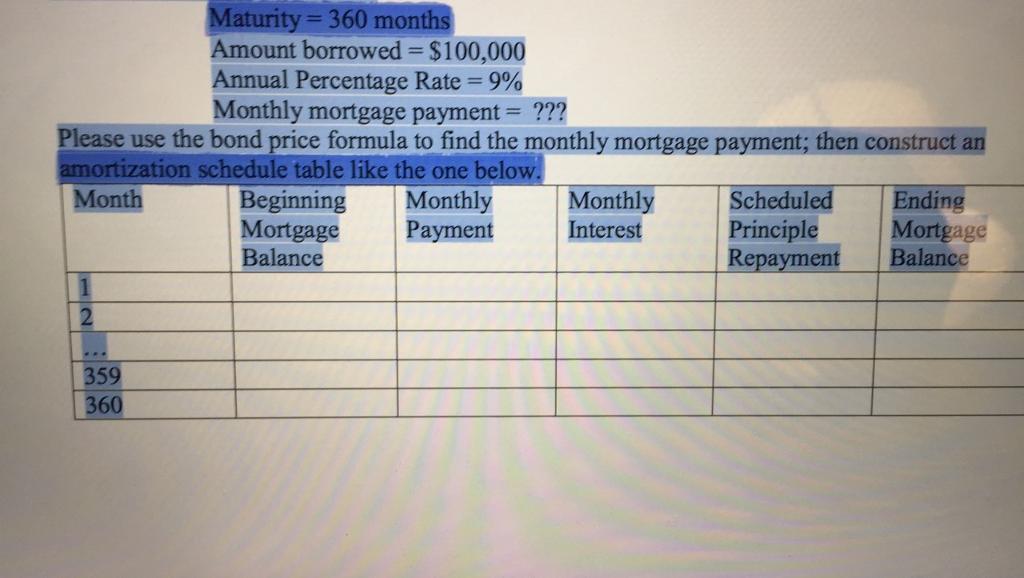 amortization formula mortgage