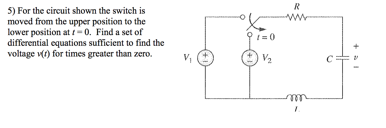 For the circuit shown the switch is moved from the