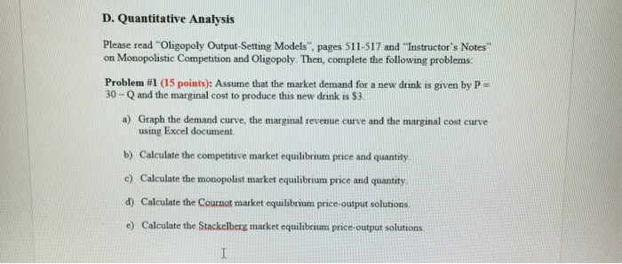 Solved D Quantitative Analysis Please Read Oligopoly Out