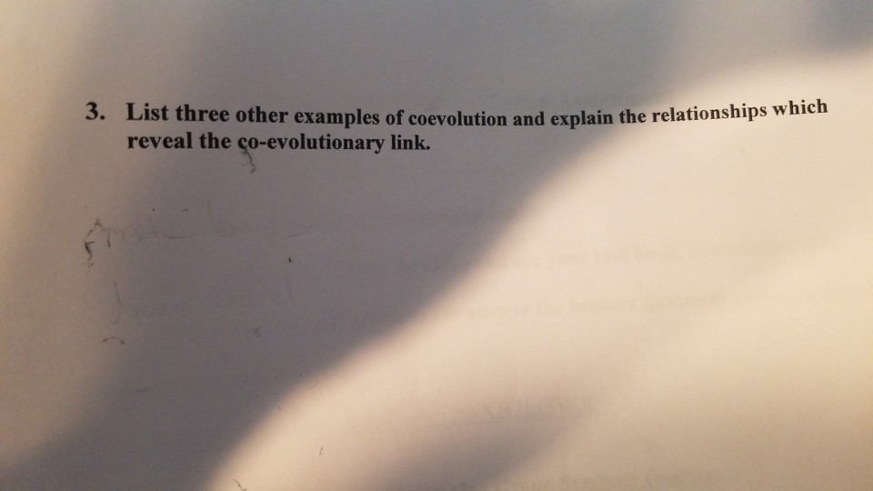 Solved List Three Other Examples Of Coevolution And Expla