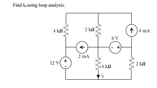Find I0 using loop analysis.