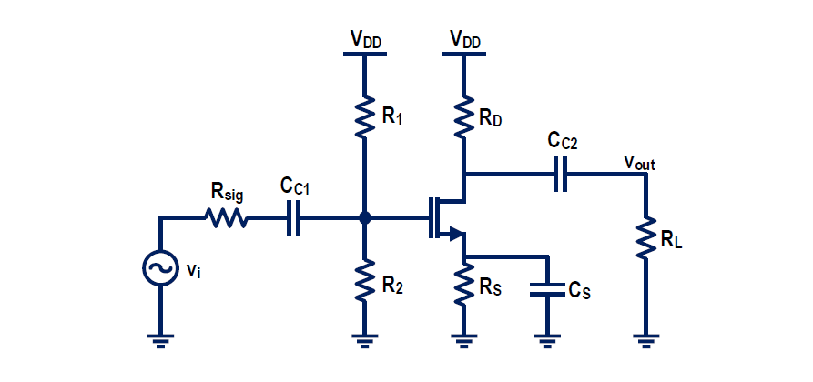 Consider the following common-source amplifier. It