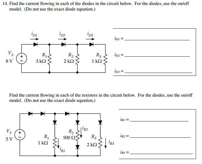 Find the current flowing in each of the diodes in