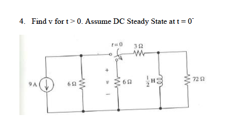 find the voltage across the capacitor t > 0. As