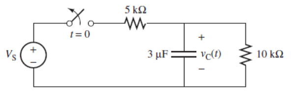 At t = 0, the switch in the following circ