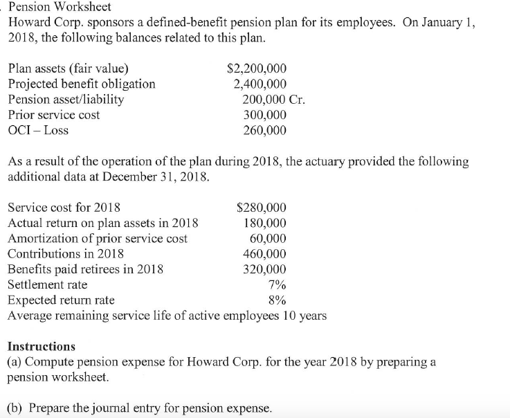 Pension Worksheet Howard Corp Sponsors A Defined – Pension Worksheet