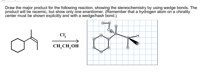 Draw the major product for the following reaction,