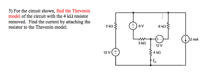 For the circuit shown, find the Thevenin model of