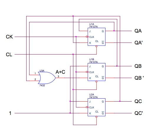 Draw a timing diagram for the circuit shown below