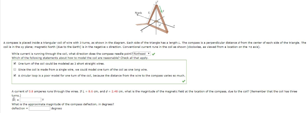 Solved: North L A Compass Is Placed Inside A Triangular Co ...