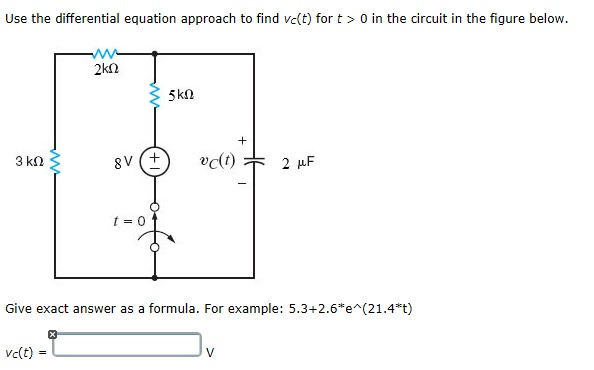 Use the differential equation approach to find vc(