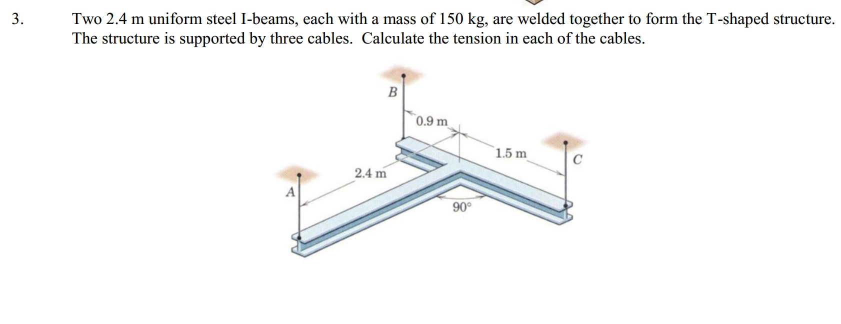 Two 2.4 m uniform steel I-beams, each with a mass