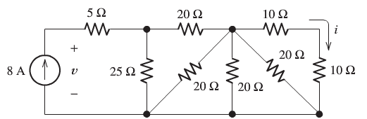 Find the values of v and i in below circuit
