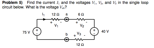 Find the current I1 and the voltages V1, and V2, a
