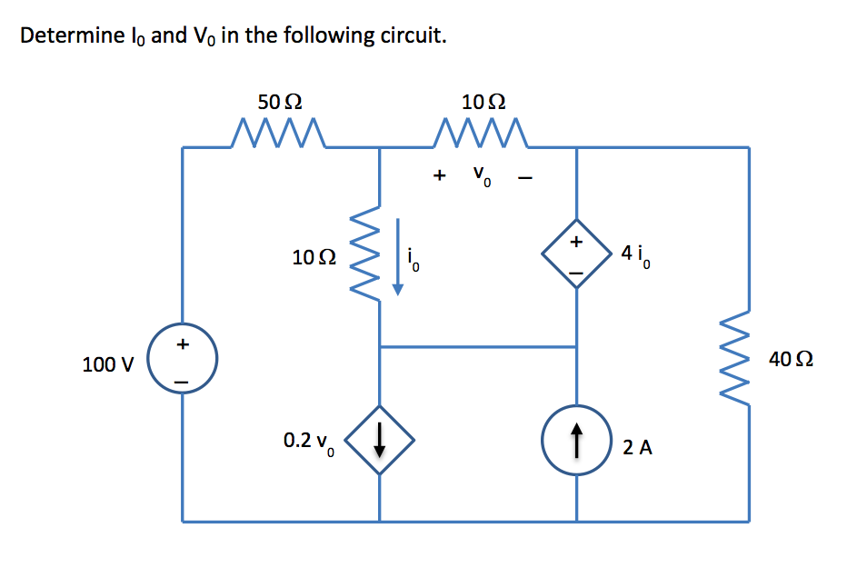 Determine lo and Vo in the following circuit.