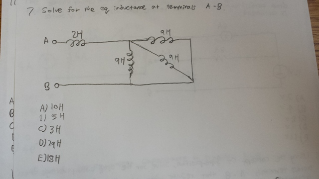 Solve for the eq inductance at terminals A - B. 1
