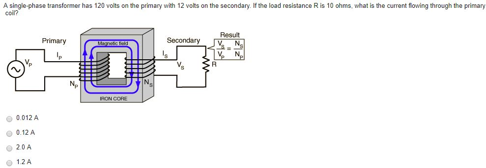 A single phase transformer has 120 volts on the pr chegg a single phase transformer has 120 volts on the primary with 12 volts on the sciox Images