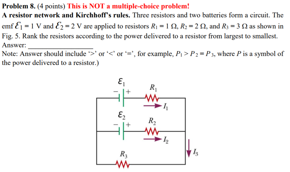 Solved A Resistor Network And Kirchhoffs Rules Three Re