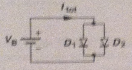 Consider following circuit which two diodes with r
