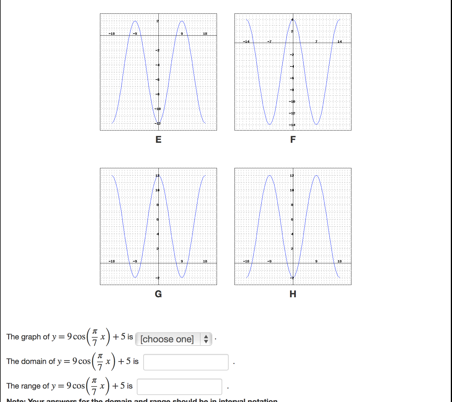 Domain And Range Inb Pages Graph At Least Two Cycles Of The Given Function  And Use Your Graph To Determine The