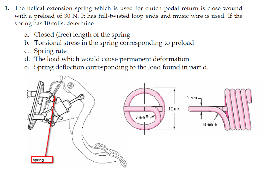 Solved: 1. The Helical Extension Spring Which Is Used For ...