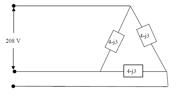 Three load impedances of 4-j3 ? are ?-connected an