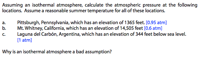 Assuming An Isothermal Atmosphere Calculate The A Cheggcom - Elevation locations