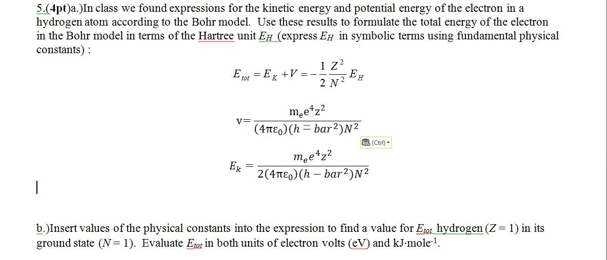 In class we found expressions for the kinetic ener