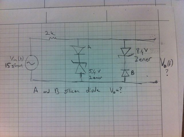 A and B silicon diode Vo = ?
