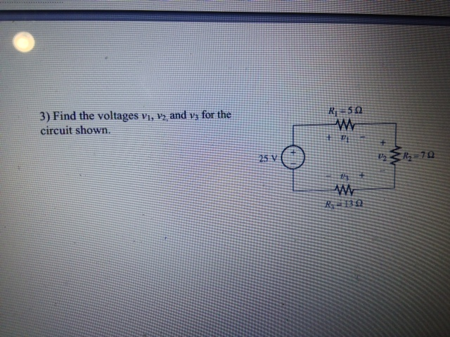 Find the voltages v1, v2,and v3 for the circuit sh