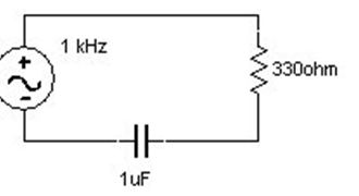For the RC circuit shown, below assume that the ci