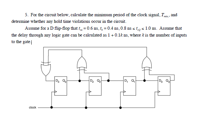 For the circuit below, calculate the minimum perio
