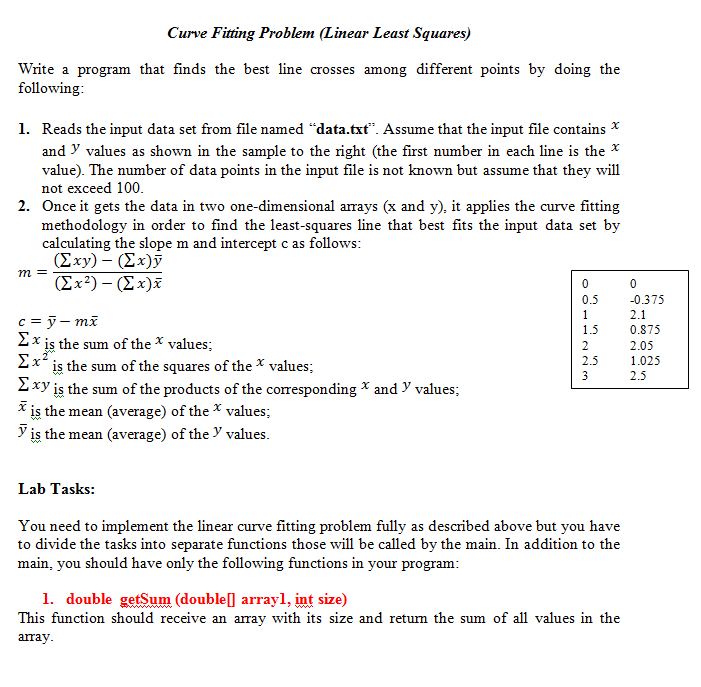 curve fitting example problems pdf