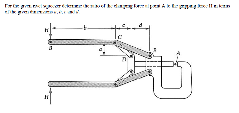 For the given rivet squeezer determine the ratio o