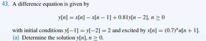 A difference equation is given by y[n] = x[n] - x