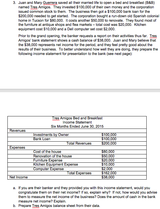 Bed And Breakfast Income Statement