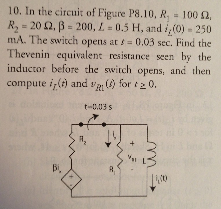 In the circuit of Figure P8.10, R1 = 100 Ohm, R2 =