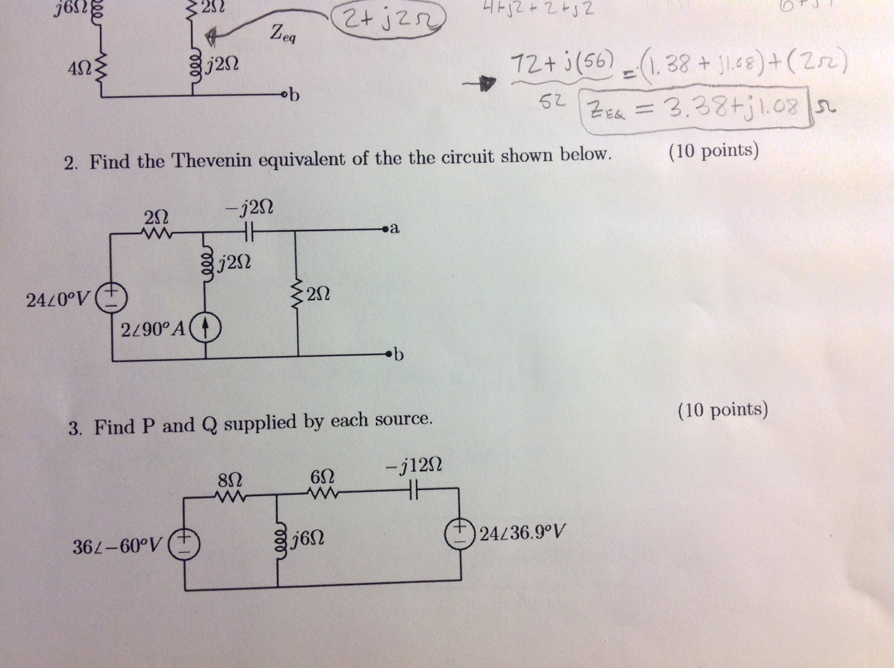 Find the Thevenin equivalent of the circuit show b