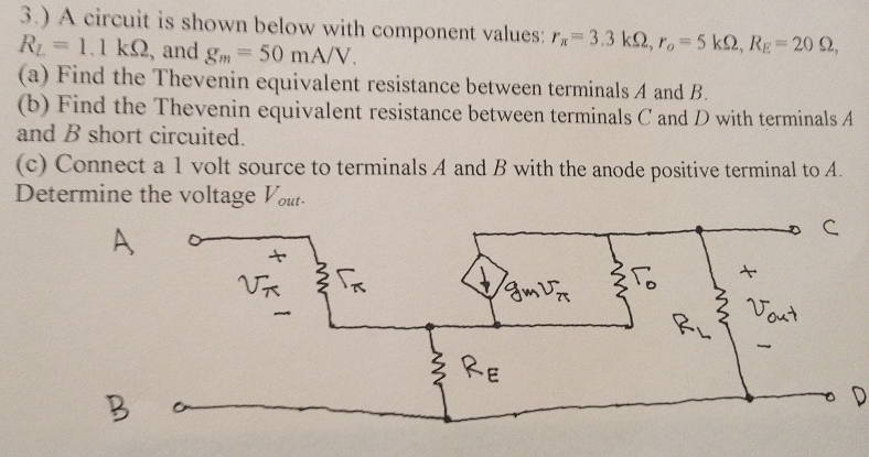A circuit is shown below with component values: r