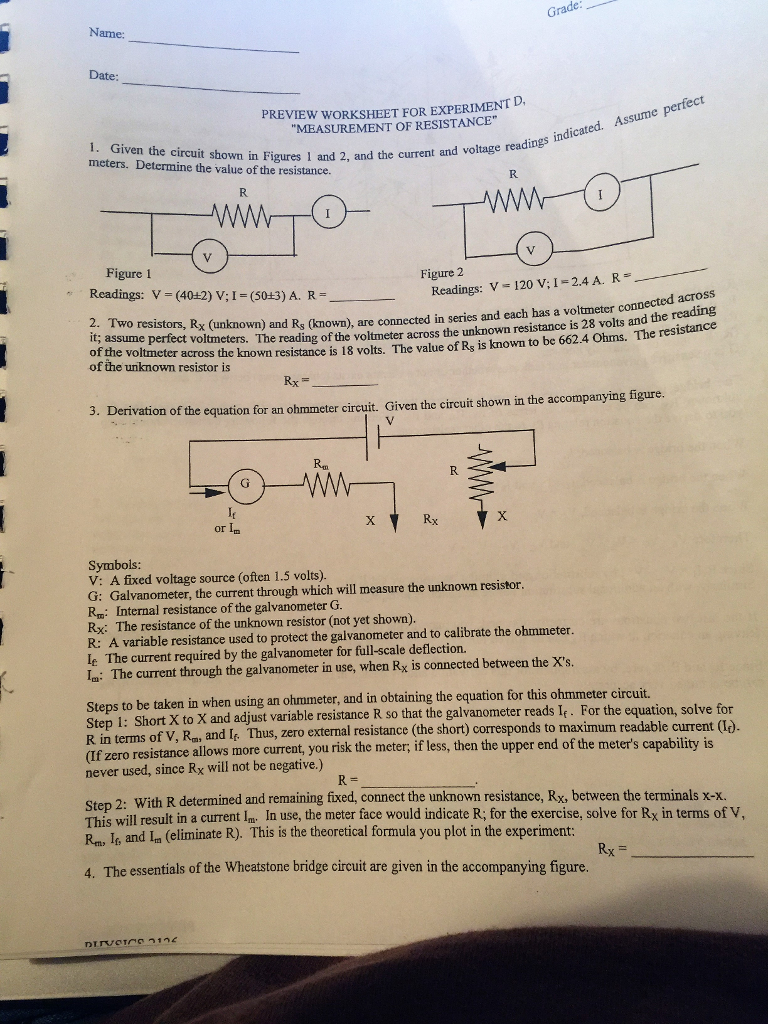 Preview worksheet for experiment d measurement o chegg preview worksheet for experiment d measurement of resistance the circuit robcynllc Image collections